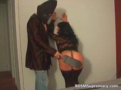 Horny brunette MILF gets spanked