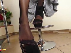 Ebony Girl footjob and masturbation in stockings