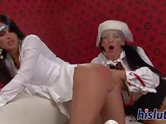 Melanie and Nessa use vibrators on their cunts