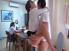 Pretty Japanese girl gets fucked in front of family