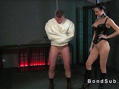 Sub in straitjacket gets handjob in femdom