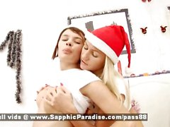 Era and Irie blonde and redhead lesbian dolls kissing and undressing