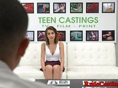 Fingered teen babe banged at brutal casting