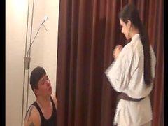 Karate mistress busts face