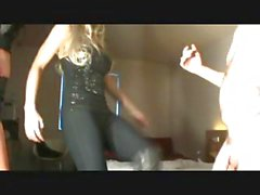 Blonde mistress does some training on her slave to bust his balls