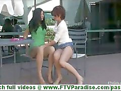 Rita and Madeline super sexy lesbians kissing and toying pussy and undessing in public