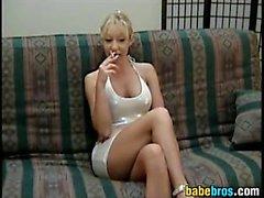 Busty Blonde Slut Smokes And Sucks Cock