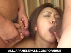 Mai has hairy cooshie licked and pumped by woodies she sucked