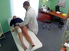 Sexy blonde goes cowgirl with her doctor