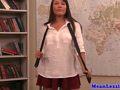 Mature lesbian teacher toying her students