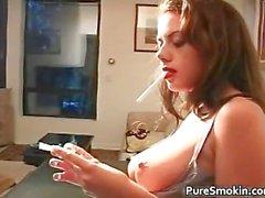 Bigtit dark haired hottie smoking part2