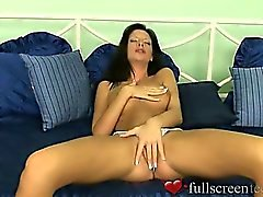 Young amateur Bambi with shaved pussy masturbating in sexy