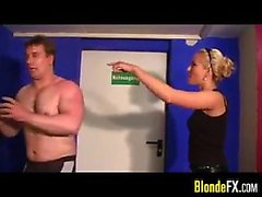 Blonde Mistress Abusing Her Male Slave