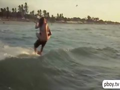 Three playmates go naked kite surfing