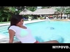 Latina plays in the pool with natural bigtits