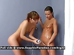 Nikitta and Aiden stunning lovely lesbians bathing