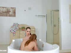 Bathtub babes by Sapphic Erotica sensual erotic lesbian porn with Angelina Brill and Jessica Night