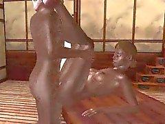 Sexy 3D cartoon ebony babe eagerly riding a cock