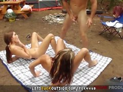 Lane Sisters Outdoor Threesome with Bungee Instructor