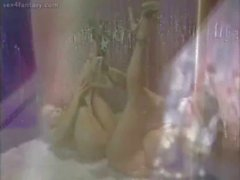 Horny lesbians tribbing in bed