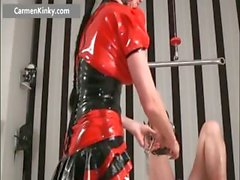 Two busty big boobed latex horny milf part1