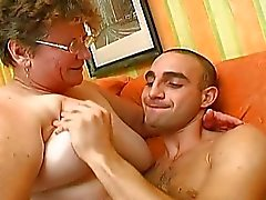 Lucky guy have best sex in his life with granny